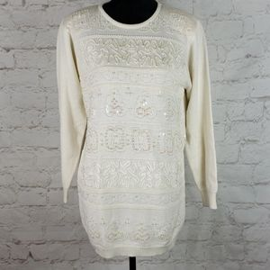Alfred Dunner wool blend beaded sweater size S